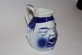 PITCHER Carafe Vase Blue & White Man,Viana do Castelo, Portugal, By Eugenia - $39.19