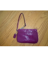 Coach Patent Leather Gloss Wristlet Purse Clutch Bag Cranberry Deep Pink... - $49.99