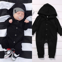 Newborn Baby Boy Clothing Romper Long Sleeve Black Jumpsuit Playsuit Clo... - $18.84 CAD+