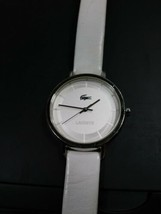 Lacoste Large Face Stainless Steel Ladies Watch White Leather Band - $17.81