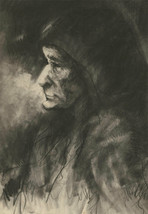 Mid 20th Century Charcoal Drawing - Profile of an Older Woman with Heads... - $55.43