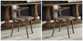 TWO NEW DESIGNER RUSTIC OAK WOOD ACCENT DINING CHAIR CURVED BACK VINTAGE... - $611.60