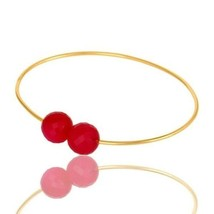 14K Yellow Gold Plated Silver Faceted Pink Chalcedony Adjustable Bangle - $18.81