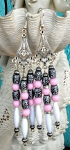 Large Pink, White, Black, and Silver Chandelier Earrings - $5.99