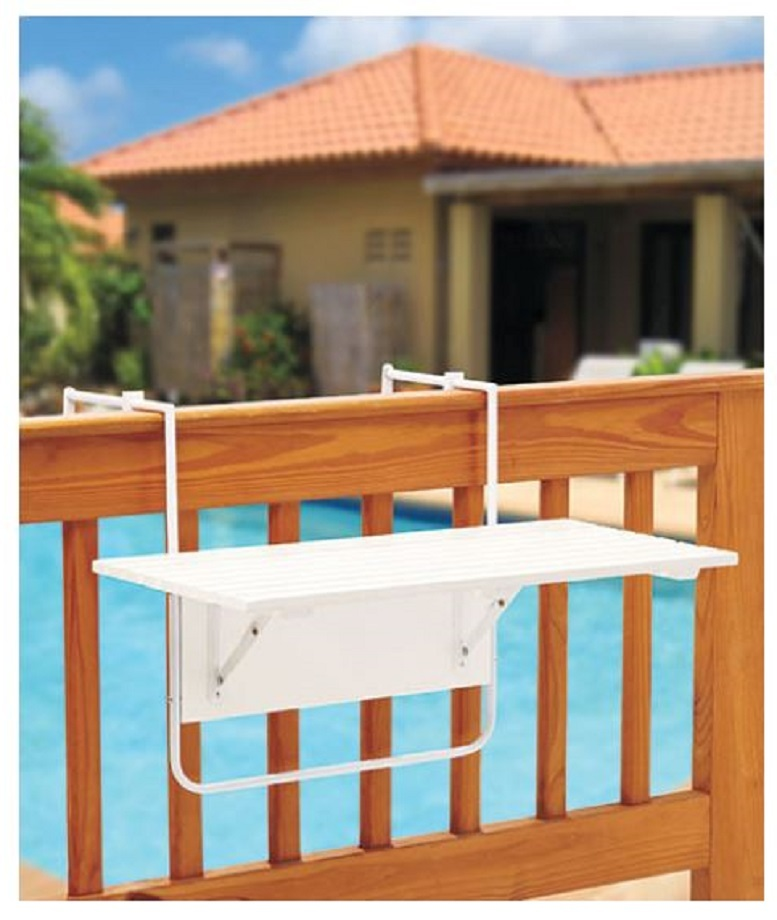 Wooden folding deck table white