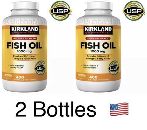 2 Bottles Kirkland Signature Omega-3 Fish Oil Concentrated 1000mg 800 Softgels - $28.21