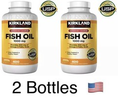2 Bottles Kirkland Signature Omega-3 Fish Oil Concentrated 1000mg 800 So... - $28.21