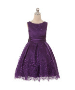 Purple Sleeveless Sequins Embroidered Mesh with Satin Sash Girls Dresses - $74.31 CAD