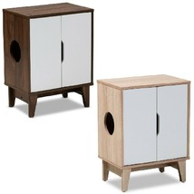 Cat Litter Box Cover Cat House Side Table Furniture Two Tone Oak White B... - $108.97