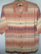 Men's Tommy Bahama 100% Silk Shirt Graduating Colors Sz Large AWESOME! - $47.51