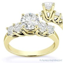 Forever ONE D-E-F Round Cut Moissanite 14k Yellow Gold 5-Stone Engagemen... - £678.16 GBP+