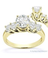 Forever ONE D-E-F Round Cut Moissanite 14k Yellow Gold 5-Stone Engagemen... - €846,64 EUR+