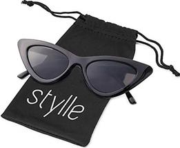 Retro Vintage cat eye Men Women Sunglasses Black Frame, Black Lens, Pouch - $8.36
