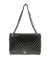 AUTHENTIC CHANEL BLACK CHEVRON PATENT LEATHER MAXI CLASSIC SINGLE FLAP BAG SHW