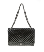 AUTHENTIC CHANEL BLACK CHEVRON PATENT LEATHER MAXI CLASSIC SINGLE FLAP B... - $3,499.99