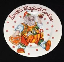 Santas Magical Cookies Plate 7.5 Cheryl Ann Johnson Sakura Stoneware Santa Claus - $9.50