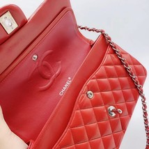 AUTHENTIC Chanel RED Quilted LAMBSKIN MEDIUM DOUBLE FLAP BAG SILVERTONE HW image 9