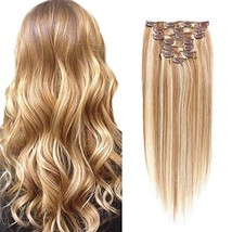 Double Weft Thick Clip in Hair Extensions Real Human Hair Clip in Hair E... - $57.58