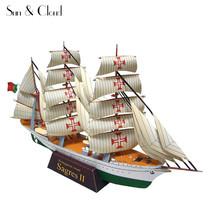 1:300 3D Portuguese Navy NRP Sagres Paper Model DIY Assemble Hand Work 3... - $5.93