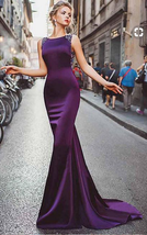 Satin Purple Mermaid Prom Dresses With Beading,Long Formal ,Evening Prom Dress  - $169.00+