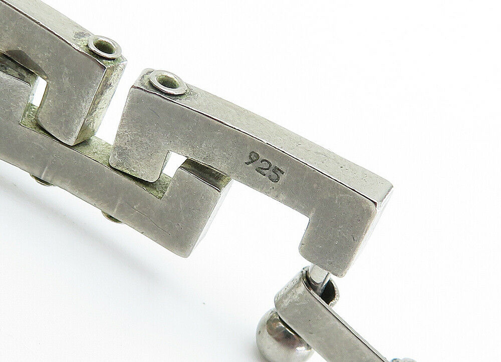 925 Sterling Silver - Vintage Shiny Greek Key Link Chain Bracelet - B6011 image 4