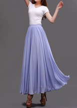 Lavender Purple Chiffon Skirt Women Chiffon Long Skirt Wedding Bridesmaid Skirts image 2