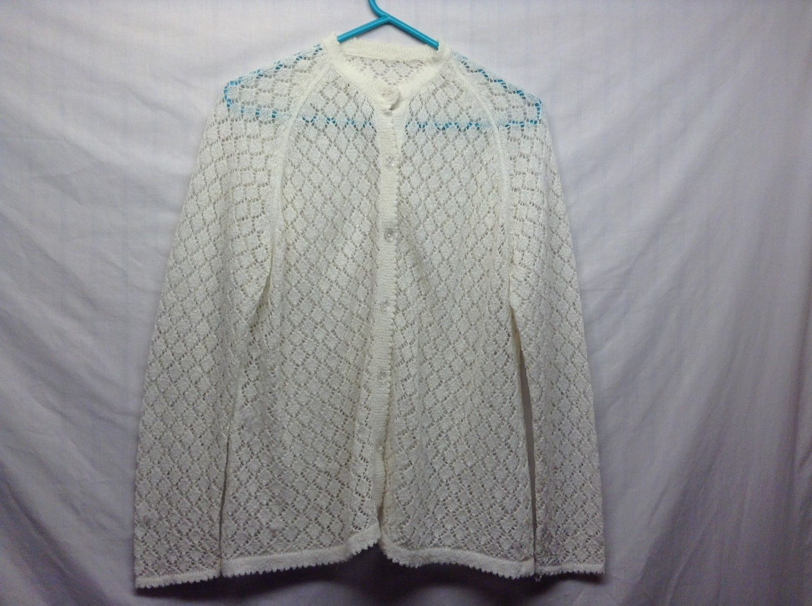 Handmade White Sheer Button Up Cardigan Style Sweater