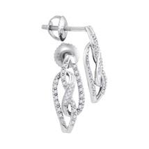 10k White Gold Womens Round Diamond Infinity Screwback Stud Earrings 1/6 Cttw - $233.00