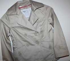 Gap Kids NWT Girl's S 6 7 Khaki Tan Beige Canvas Pea Coat Jacket - Lined - $47.64