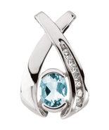 14K White Gold Aquamarine & Diamond Pendant - $349.99+