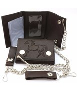 Trifold Brown Leather Biker Chain Wallet with an Embossed Horse Design - $19.79