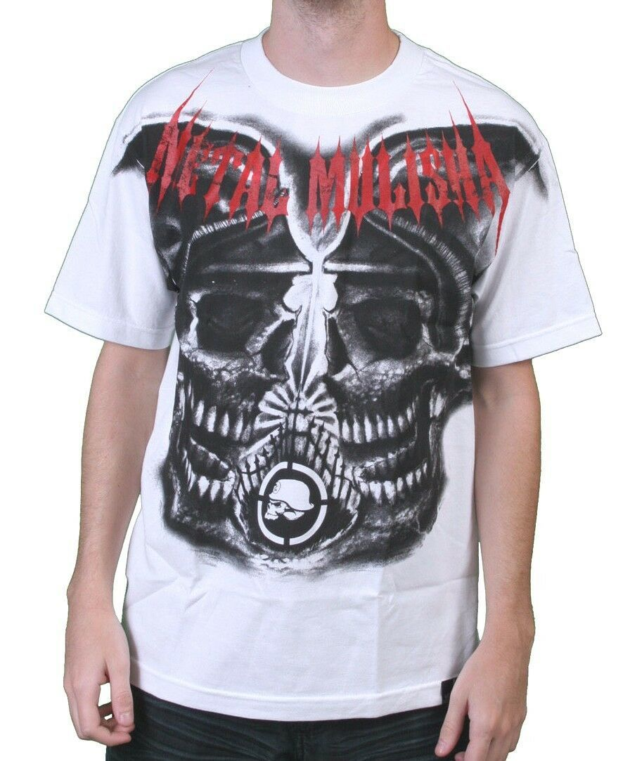 Metal Mulisha Mens Burial Ground Helmet Skull Horror White T-Shirt NWT