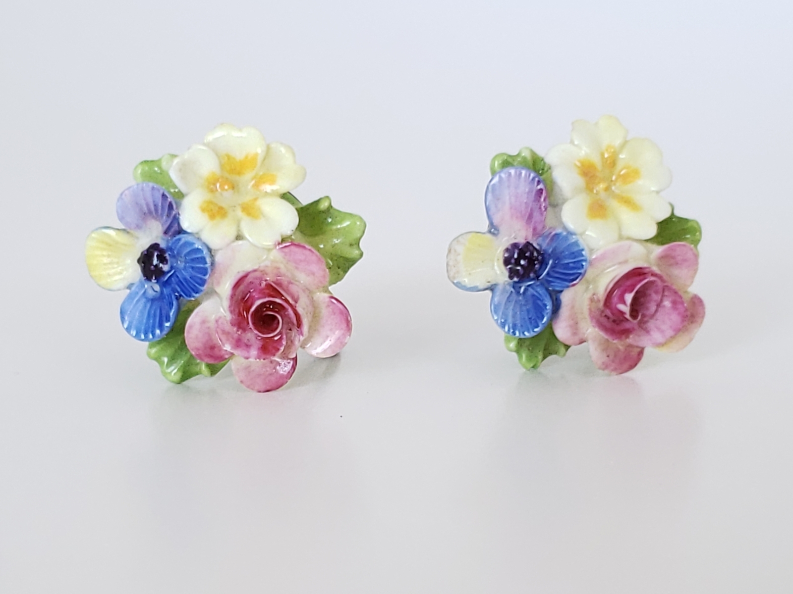 Primary image for Vintage Porcelain Flower Cluster Bouquet Earrings, Screw Backs, Colorful Floral