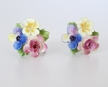 Vintage Porcelain Flower Cluster Bouquet Earrings, Screw Backs, Colorful Floral