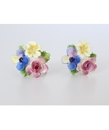 Vintage Porcelain Flower Cluster Bouquet Earrings, Screw Backs, Colorful... - £10.16 GBP