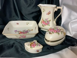 Lefton Porcelain Pitcher & Bowl Fan Trinket Box  Egg Trinket Jewelry Box 4pc Set - $95.99