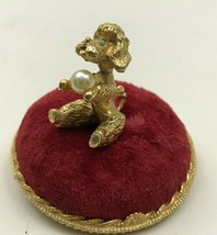 VINTAGE FLORENZA POODLE WITH PEARL RED PIN CUSHION TRINKET BOX LID MID C... - $15.47