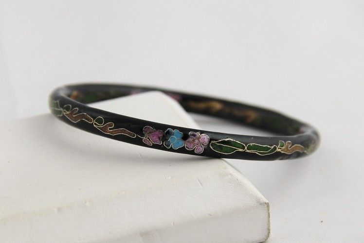 "VINTAGE Jewelry 1/4"" THICK BLACK CLOISONNE BANGLE BRACELET Asian CHINESE ENAMEL"