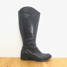 8.5 - Via Spiga Black Leather Knee High Side Zip Almond Toe Moto Boots 1... - $45.00
