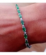 Emerald and White Sapphire Bracelet Set in925 Silver Jewellery Bangle R... - $766.54