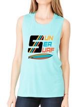 Women's Flowy Muscle Top Sun Sea Surf Lover Summer Top - $19.94+