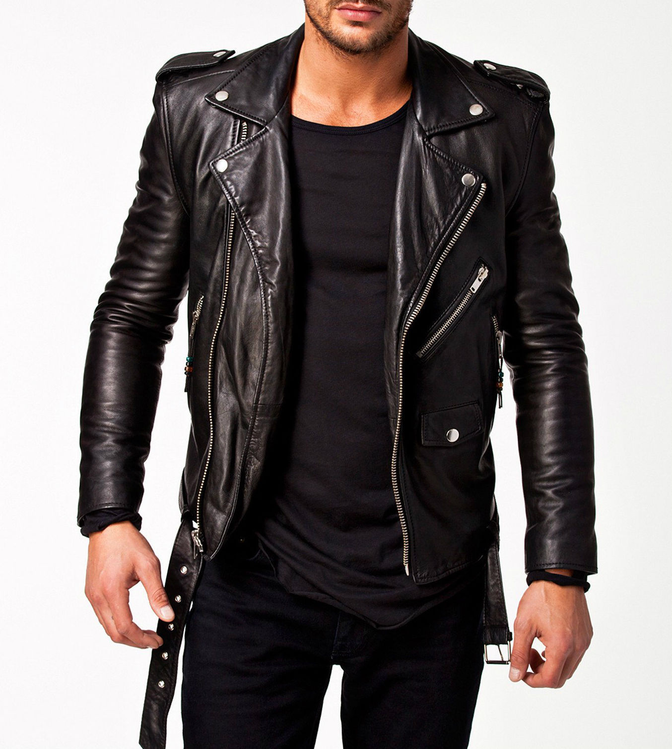 Mens Leather Jacket Black Slim Fit Biker Motorcycle Genuine Lambskin Jacket Moto