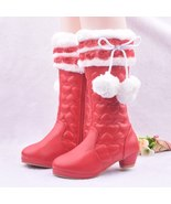 Girls Red Pom Pom boots winter fashion princess Hearts boots snow boots  - $79.99+