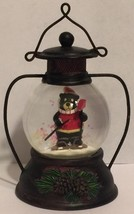 Holiday Inspirations Bear Skiing Snowglobe Lantern Christmas Winter - $19.34