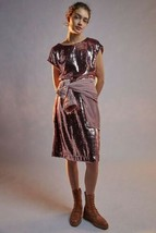 NWT $168 Anthropologie Maeve Sequin Kara Dress Rose Pink sz Large - $67.32