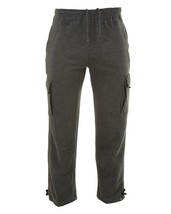 Vibes Proactive Men's Baggy Cargo Fleece Sweat Track Pants Joggers Charcoal 2XL