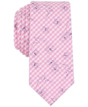 NEW $55 BAR III PINK CHECKERED BEAUFORD BIRD FLORAL PRINT SKINNY NECK TIE - $3.47
