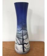 "Vintage Winter Scene Snowy Night Sky Studio Art Decco Pottery Flower Vase 14"" - $319.99"