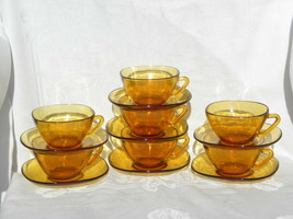 7 Vintage Vereco, France, Amber Glass Square Cups and Saucers - $29.99