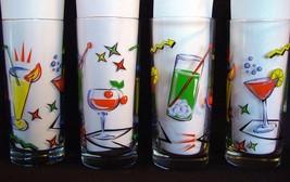 4 Tropical Drinks Colorful Heavy Tall 15 Oz Tumblers Highballs Glasses NIB DISC - $19.99